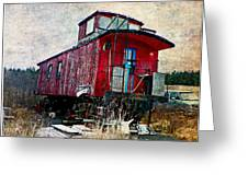 The Red Caboose Greeting Card by Dianne  Lacourciere