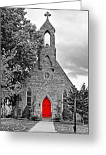 The Red Door Monochrome Greeting Card