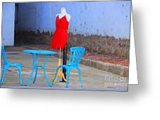 The Red Dress Lunch Special Greeting Card