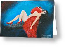 The Red Feather Boa Greeting Card