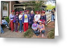 The Red Hat Ladies At The Catfish Plantation Greeting Card