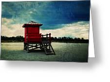 The Red Lifeguard Shack Greeting Card