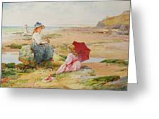 The Red Parasol Greeting Card by Alfred Glendening Jr