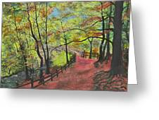 The Red Path Greeting Card by Leo Gehrtz