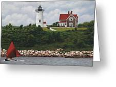 The Red Sail  Nobska Lighthouse Cape Cod Greeting Card