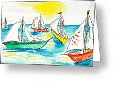 The Regatta Greeting Card by Brenda Ruark