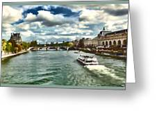 The River Seine Paris France Digital Water Color Greeting Card