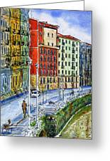 The Riverside Houses At Bilbao La Vieja Greeting Card