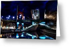 The Riverside Pool Of The Guggenheim Museum In Bilbao Spain Greeting Card