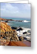 The Rocky Coastline Meets The Ocean Greeting Card