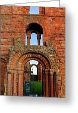 The Romanesque Doorway In The Monastery Greeting Card