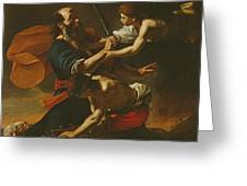 The Sacrifice Of Isaac, 1613 Oil On Canvas Greeting Card