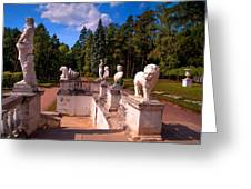The Satutues Of Archangelskoe Palace. Russia Greeting Card