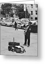 The Saxman In Black And White Greeting Card