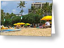 The Scene At Waikiki Beach Greeting Card