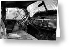 The Seat Of An Old Truck In Black And White Greeting Card