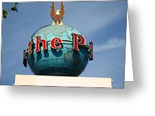 The Seattle Pi Globe Sign Greeting Card by Kym Backland