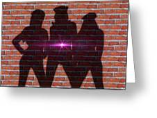 The Shadow Of The Grafitti Ladies Greeting Card