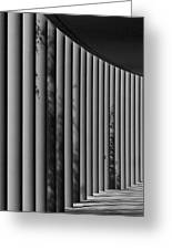 The Shadows And Pillars  Black And White Greeting Card