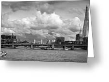 The Shard And Thames View Black And White Version Greeting Card
