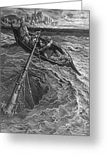 The Ship Sinks But The Mariner Is Rescued By The Pilot And Hermit Greeting Card