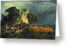 The Siege. Defense Of A Church Courtyard During The Thirty Years' War Greeting Card