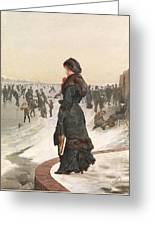 The Skater Greeting Card by Edward John Gregory