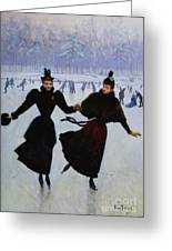 The Skaters Greeting Card by Jean Beraud