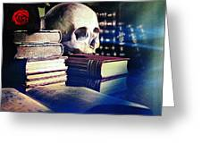 The Skull The Spell Book And The Rose Greeting Card