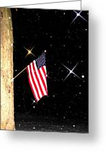 The Snow The Moon And The Flag Greeting Card by Sharon Costa