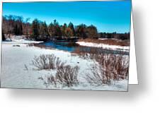 The Snowy Moose River - Old Forge New York Greeting Card