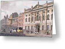 The South Front Of Ironmongers Hall, From R. Ackermanns Repository Of Arts 1811 Colour Litho Greeting Card