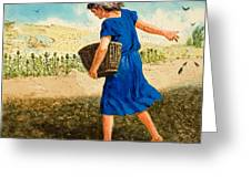 The Sower Of The Seed Greeting Card by Clive Uptton