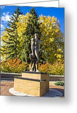 The Spartan Statue In Autumn Greeting Card