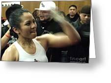 The Speed Of Woman's Boxing Champion Ana Julaton Greeting Card