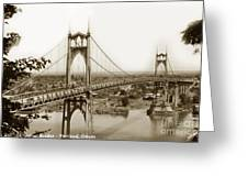 The St. Johns Bridge Is A Steel Suspension Bridge That Spans The Willamette River Greeting Card