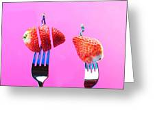 The Star On Strawberry Miniature Art Greeting Card