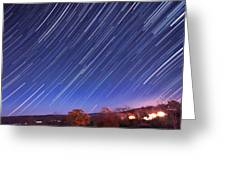 The Star Trail In Ithaca Greeting Card