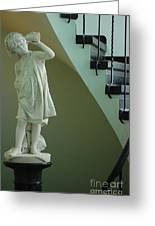 The Statue In The Stairway Greeting Card