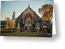 The Stranger's Church And Willis Tower Greeting Card