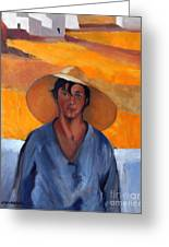 The Straw Hat - After Nikolaos Lytras Greeting Card by Kostas Koutsoukanidis