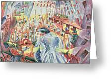 The Street Enters The House Greeting Card by Umberto Boccioni