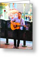 The Street Performer On Market Street - 5d20725 Greeting Card