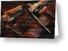 The Stroke Of The Cellist Greeting Card