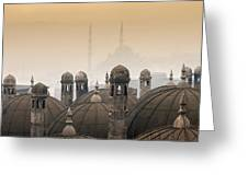 The Suleymaniye Mosque And New Mosque In The Backround Greeting Card