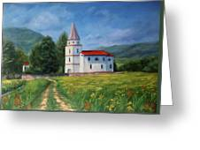 The Sunny Road Landscape With Field And Church Greeting Card