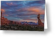 The Sun Sets At Balanced Rock Greeting Card