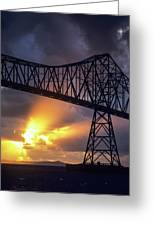 The Sun Sets Below The Astoria-megler Greeting Card