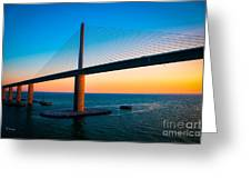 The Sunshine Under The Sunshine Skyway Bridge Greeting Card by Rene Triay Photography