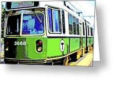The T Trolley Car Boston Massachusetts 1990 Poster Greeting Card